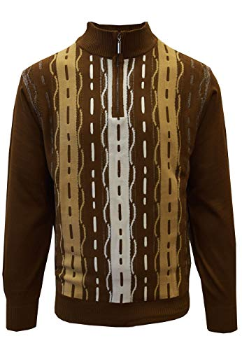 STACY ADAMS Men's Sweater, Tri Vertical Jacquard Front Design (XXL, Brown) ()
