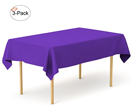 Tiger Chef 3-Pack Purple Heavy Duty Plastic Tablecloth Reusable, 54 x 108 inch Table Cover Plastic, Available in 20 colors (Plastic Tablecloths Cheap)