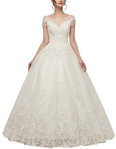PROMLINK Lace Beaded Wedding Dress Cap Sleeve Ball Gown Long for (Beaded 3 Hole Link)