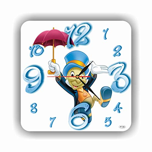 Art time production Jiminy Cricket - Pinocchio 11'' Handmade Wall Clock - Get Unique décor for Home or Office – Best Gift Ideas for Kids, Friends, Parents and Your Soul ()