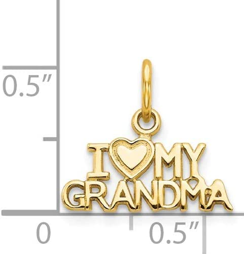 14K Yellow Gold I Love My Grandma Charm Pendant from Roy Rose Jewelry