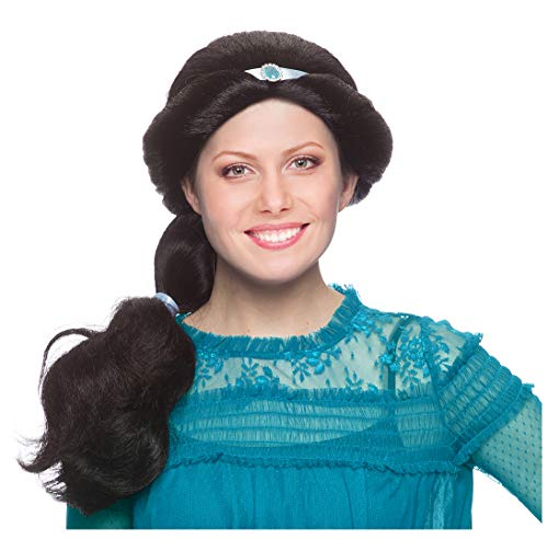 Princess Jasmine Wig Adult Jasmine Costume Wig for Women Adult Arabian Costume Black -