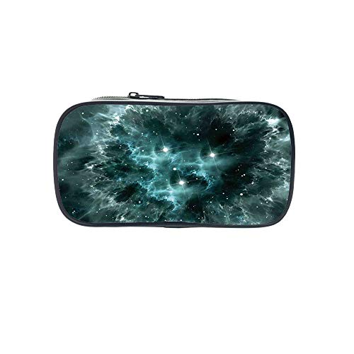 Strong Durability Pen Bag,Space Decorations,Space Nebula in The Space with Crystal Star Cluster Galaxy Solar System Cosmos Print,Teal,for Students,Diversified Design by iPrint