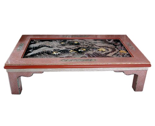 Mother of Pearl Inlay Art Lacquer Finish Crane Bird and Pine Tree Design Luxury Handmade Solid Thick Wood Hall Square Sofa Coffee Asian Furniture Home Decor Table