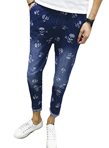 Denim Skull Dress (OnIn Fashion Men's Fashion Washed Denim Skull Pattern Regular Fit Jean BlueUS-M)