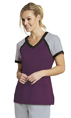 Grey's Anatomy Active Women's 41435 Color Block V-Neck Scrub Top- Currant/Moonstruck/Black- 2X-Large