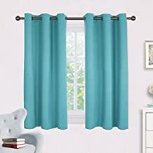 Blackout Draperies Curtains for Kids Room - NICETOWN Window Treatment Thermal Insulated Solid Grommet Blackout Drape Panels for Bedroom (Set of 2 Panels,42 by 54 Inch,Turquoise)