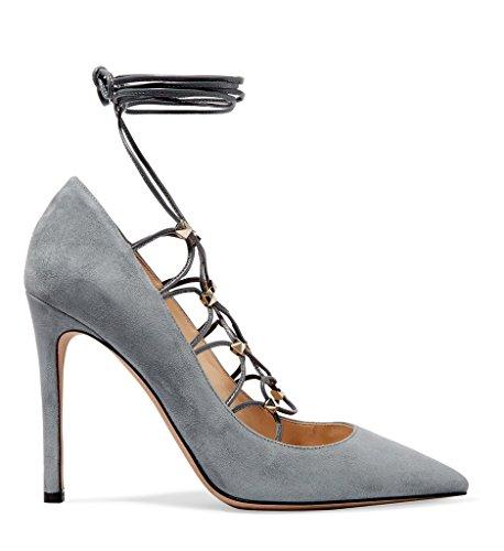 Kolnoo Femmes Entrecroisés cheville Strap Pumps Party talon haut Chaussures Gray gray 9oA7O