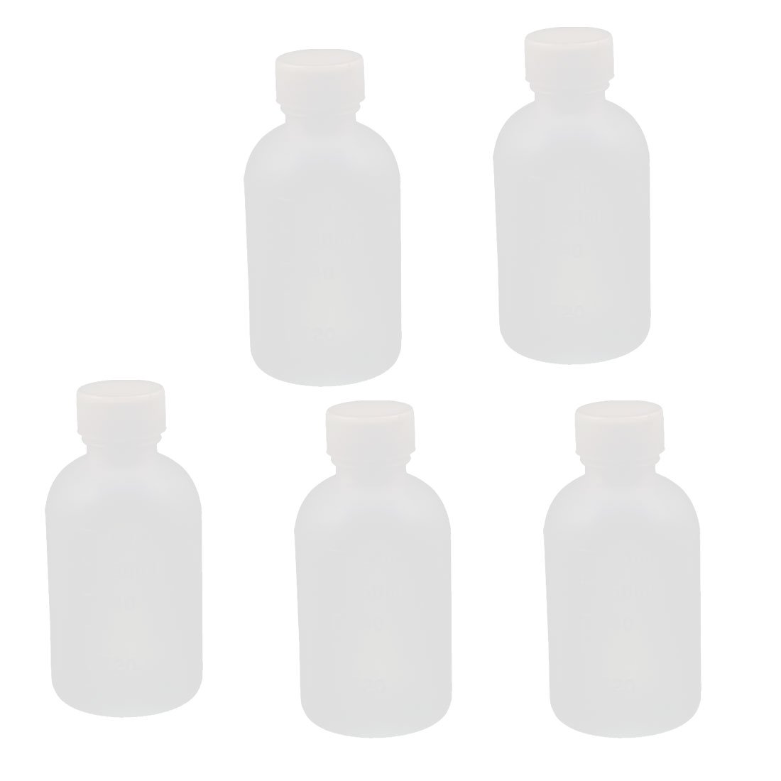 sourcingmap 5Pcs 60ml Plastic Round Laboratory Reagent Bottle Sample Sealing Bottle Clear a16082700ux0307