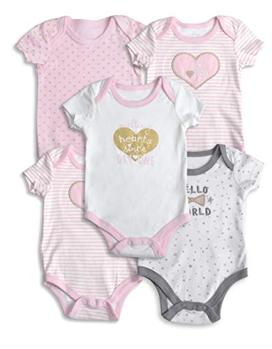 Lily and Page Onesies Baby Girl, 5-Pack Bodysuit for Girls Newborn Onesie Infant Clothes