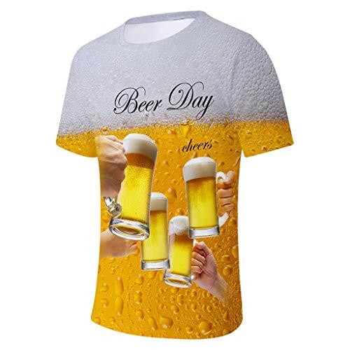 Men's Summer Beer Festival 3D Printing O-Neck Short Sleeve Blouse Tops Yellow]()