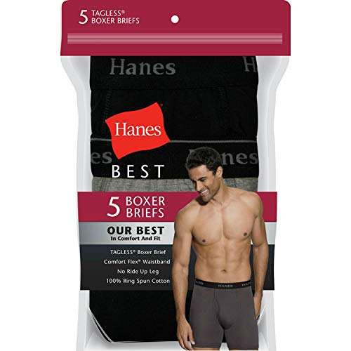 Hanes Ultimate  5 Packs For Men FreshIQ Boxer Briefs with ComfortFlex Waistband, Full-black , Large  ()