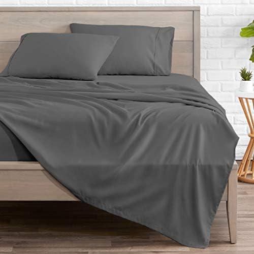 Bare Home Split Head Flex King Sheet Set - 1800 Ultra-Soft Microfiber Bed Sheets - Double Brushed Breathable Bedding - Hypoallergenic – Wrinkle Resistant - Deep Pocket (Split Head Flex King, Grey)