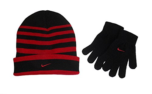Nike Big Boys Striped Knit Beanie Glove Set