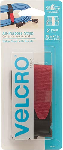 VELCRO Brand All-Purpose Straps | Strong & Reusable | Perfect for Fastening Wires & Organizing Cords | Black, 18in x 1in | 2 Count