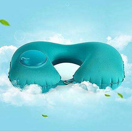 Azul TOOGOO Almohada de Viaje Hinchable Autom/ática en Forma de U Almohada Hinchable del Aire del Coche Almohadillas de Aire de Viaje Cuello Reposacabezas Plegable Port/átil