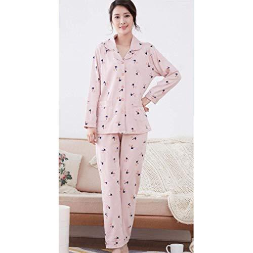 Ropa Puro Pink Dormir Caliente Mantener Servicio Impresión L algodón Pijamas Long Lady 2 Marca De A Mode Rosas Domicilio Algodón nZRqFqHT