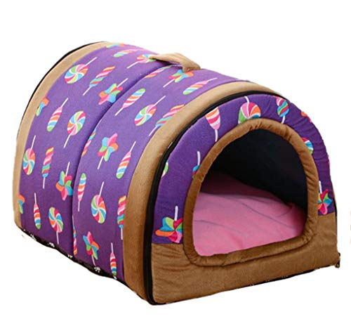 Krastal Dog House Nest with Mat Foldable Home Pet Dog Bed Cat Puppy Dog Kennel for Small Medium Dogs ()