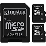 Kingston Digital 8GB Micro SD Flash Card, Pack of 2, One Adapter with Jcase (SDC4/8GB-2P1AET)