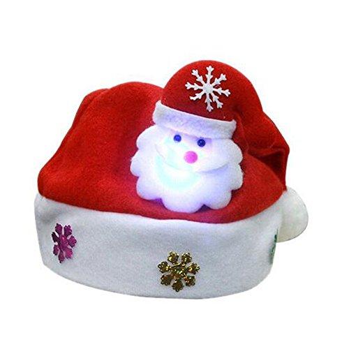 1 Santa (Tanxih 1 Pcs Lightning Santa Claus Hat Kids Xmas Caps Stylish Luminous Super Soft Christmas Hat for Children, 10 x 12 Inch)