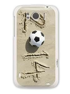 """GRÜV Premium Case """"2014 Sand Football Beach Soccer Brazil Sport Art"""" Design for HTC G21 X315e Sensation XL (Best Quality Designer Print on White Hard Cover)"""