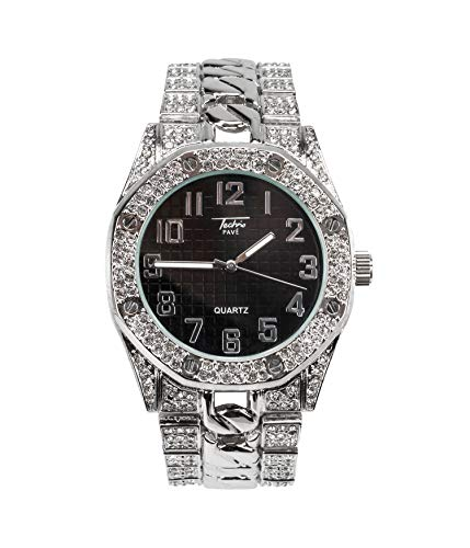 Bling-ed Out Men's 40mm Dial CZ Silver Watch with Iced Out Bezel | Japan Movement | Simulated Lab Diamonds - Black