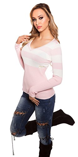 Koucla Feinstrick-Pullover mit Streifen Damen Einheits-Größe Eng Anliegend 34 36 38 (Einheitsgröße, Rosa)