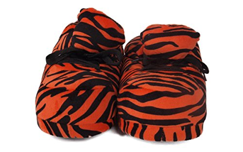 Happy Feet Mens Och Womens Vanliga Gymnastik Tofflor Apelsin Zebra
