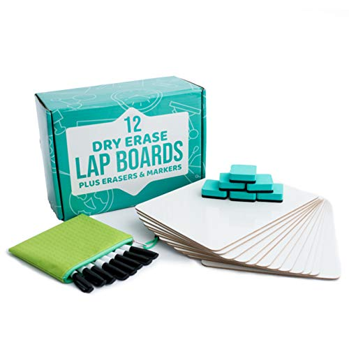 Dry Erase Boards | 12pc Classroom Pack Mini Lapboards + 12 Bonus Whiteboard Markers + Felt Erasers - 9