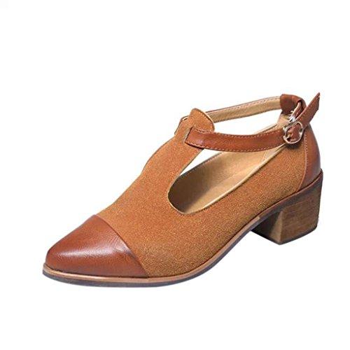 Winwintom Vintage Mujer La Corte señaló hebilla Zapatos de tacón zapatos de cuña de tacón patchwork Marrón