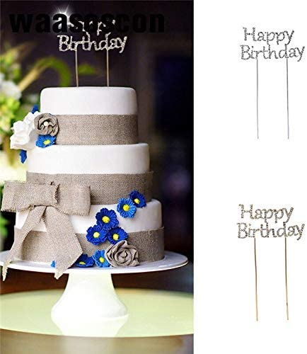 Golden Silvery Glitter Cake Topper Happy Birthday Flags Banner For Family Birthday Party Wedding Kid Baking Decoration Supplies : B