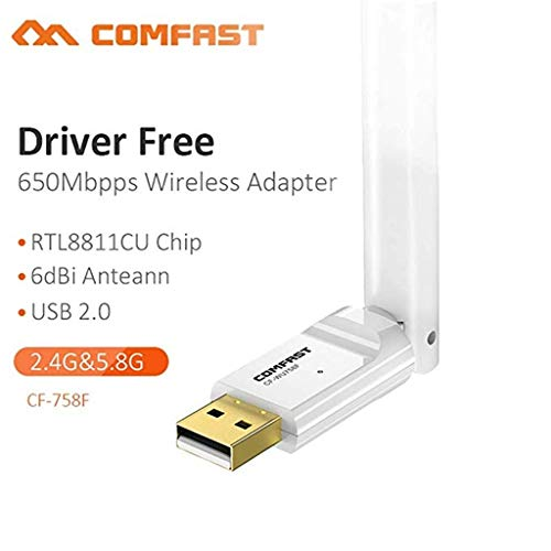 Finedayqi ❤ Comfast WU758F 650Mbps 2.4G/5G Wireless USB WiFi Adapter Network Dongle Free from Fineday