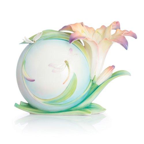 Franz Porcelain Lily flower and dragonfly mid size vase Limited Edition - Vases Porcelain Dragonfly