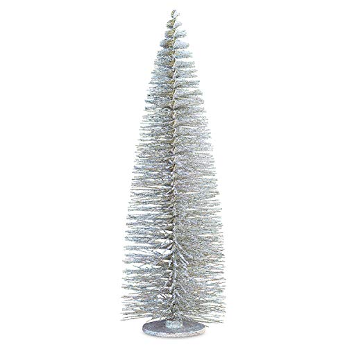 (Americana Christmas Tree, 4 Feet Tall, (15 3/4 Diameter x 47 1/4 Inches Tall) Vintage Farmhouse Style, Durable and Sturdy, Silver, Glittery, Whispy Wire, Iron, Eco-aware, Recycled Materials, Shabby)