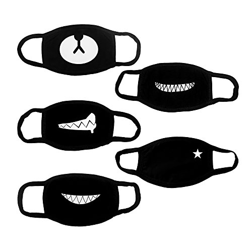 Hanjoy Top Quality Exo Cute Bear Teeth Star Unisex Cotton Blend Anti Dust Face Mouth Mask for Men/Woman, Black, 5 Piece
