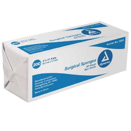 DYNAREX Gauze Sponge 100% Cotton 8-ply 2 x 2'' Square (#3222, Sold Per Case) by Dynarex