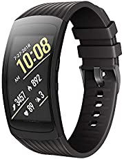 ANCOOL Compatible Samsung Gear Fit2 Pro Band/Gear Fit 2 Bands, Silicone Smartwatch Bands Compatible Samsung Gear Fit2 Pro(Large,Black)