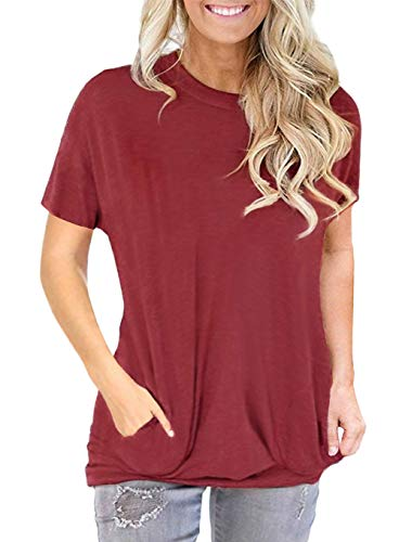 - onlypuff Red Short Sleeve T Shirt for Women Pockets Batwing Sleeve Solid Color S
