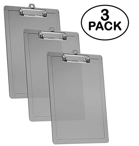 Acrimet Clipboard Letter Size Low Profile Clip (Smoke Color) (3 - Pack)