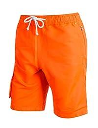 ililily Men Fluorescent Color Board Shorts Lightweight Casual Volley Swim Trunk