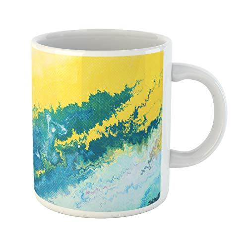 Semtomn Funny Coffee Mug Blue Paint Fragment of Abstract Watercolor Splash Canvas Closeup 11 Oz Ceramic Coffee Mugs Tea Cup Best Gift Or Souvenir