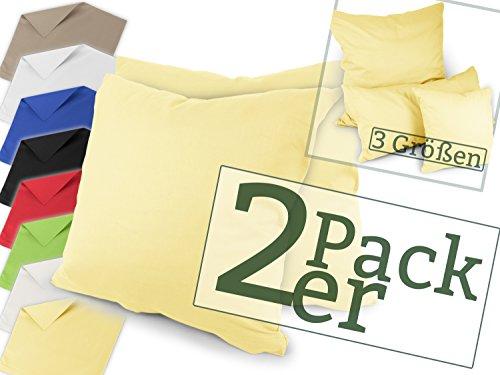 Renforcé-Kissenbezüge im Doppelpack - 100% Baumwolle - schlicht und edel im Design, in 8 Uni-Farben, 40 x 40 cm, gelb