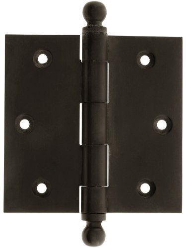 House of Antique Hardware W-04HH-220-OB Solid Brass Door Hinge with Ball Finials, 3 1/2