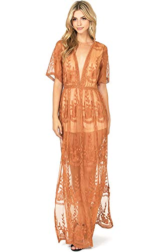 f558d2a580c1 Haute Monde Women's Special Occasion Low Neckline Sheer Lace Maxi Dress (M,  Camel)