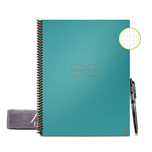 "Rocketbook Smart Reusable Notebook - Dotted Grid Eco-Friendly Notebook with 1 Pilot Frixion Pen & 1 Microfiber Cloth Included - Neptune Teal / Light BlueCover, Letter Size (8.5"" x 11"")"