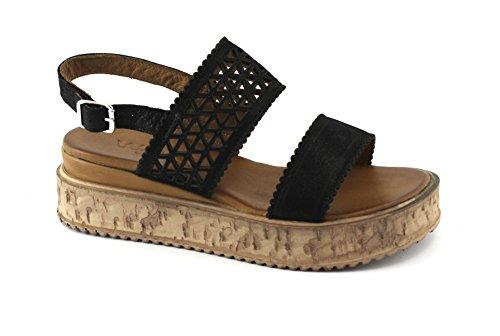 Black Two Strap Woman Bands Sandals Platform Nero Melluso K55025 71wxf55