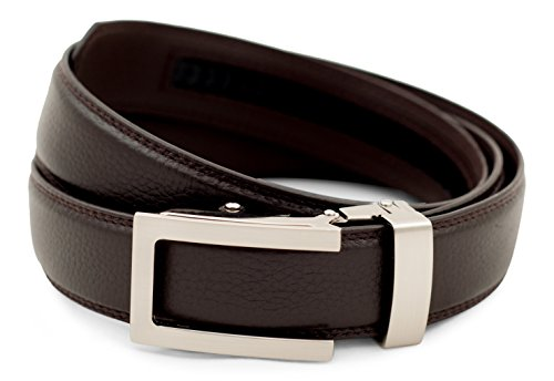 Anson Belt & Buckle - Men's Traditional Gunmetal Buckle with Dark Brown Leather Strap