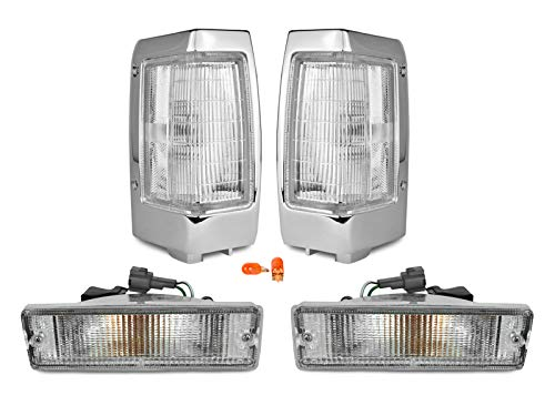 REVi MotorWerks Combo Front Clear Corner + Bumper Signal Lights by DEPO fit for 1990-1997 Nissan Hardbody Pick Up Truck ()