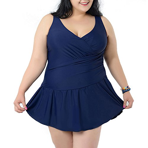 Tempt-Me-Women-One-Piece-Plus-Size-Front-Cross-Ruched-V-neckline-Swimdress