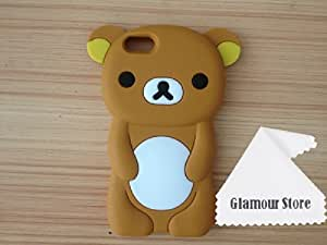 Cute Cartoon Style Brown 3D Bear Pattern Soft Silicone Gel Case Skin Cover Protective For Apple iPhone 5C + Free Cleaning Cloth As a Gift and Free Screen Protector